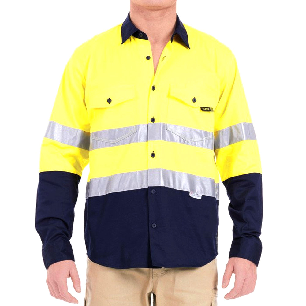 TRADIE FLEX HI VIS LONG SLEEVE SHIRT W/TAPE