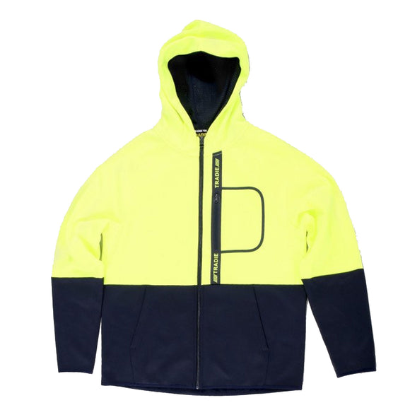 TRADIE HI VIS ZIP UP HOODIE YELLOW NAVY