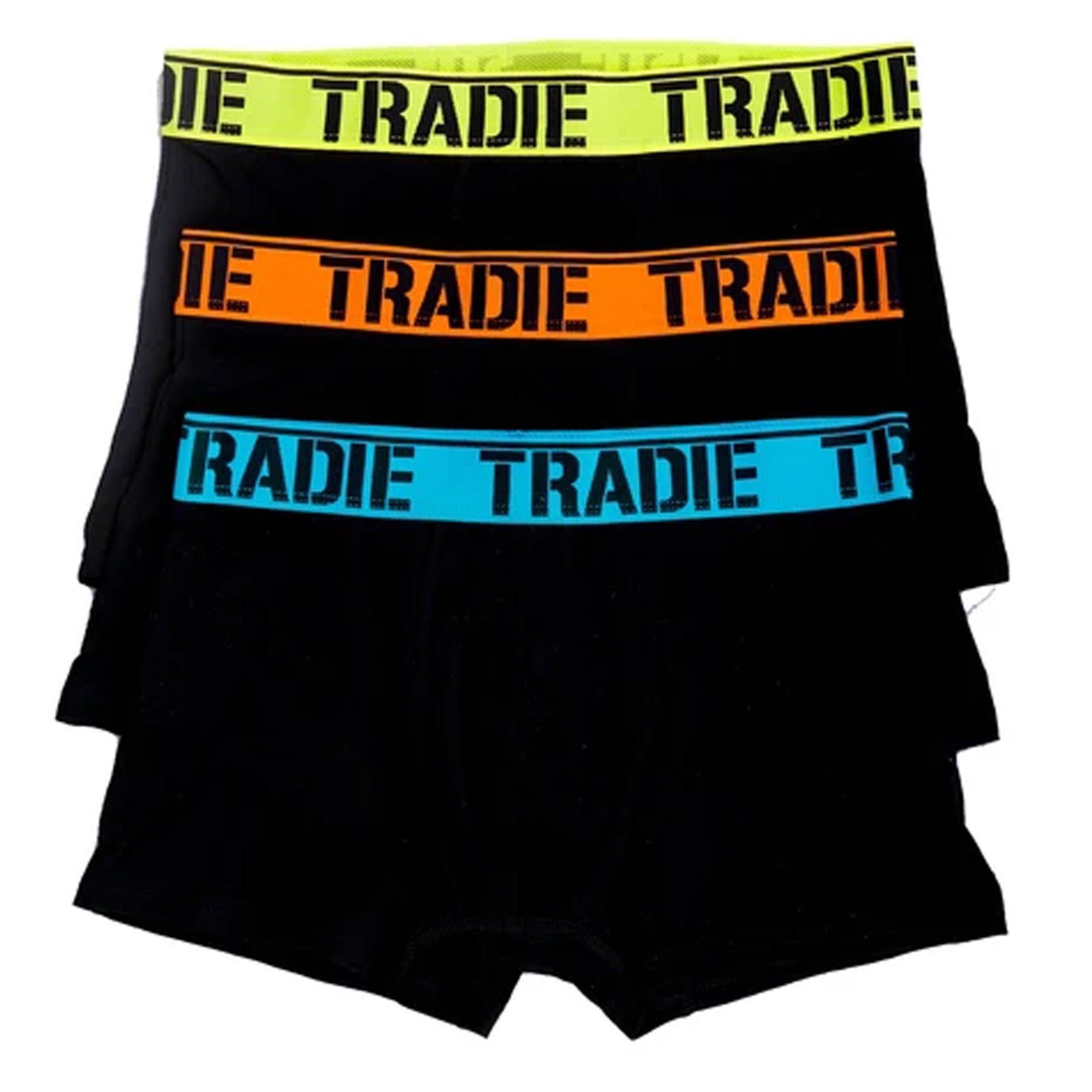 TRADIE MENS 3PK TRUNKS BRIGHTS