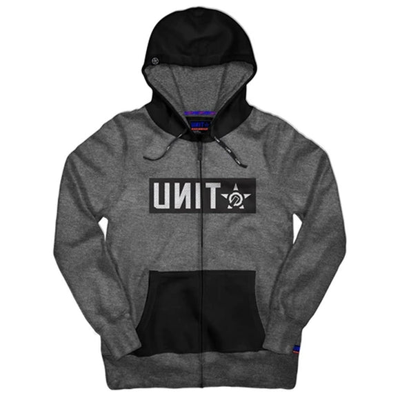 UNIT MENS FLEECE HOODIE SHELTER CHARCOAL