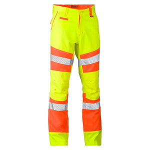 BISLEY TAPED BIOMOTION DOUBLE HI VIS PANT YELLOW/ORANGE
