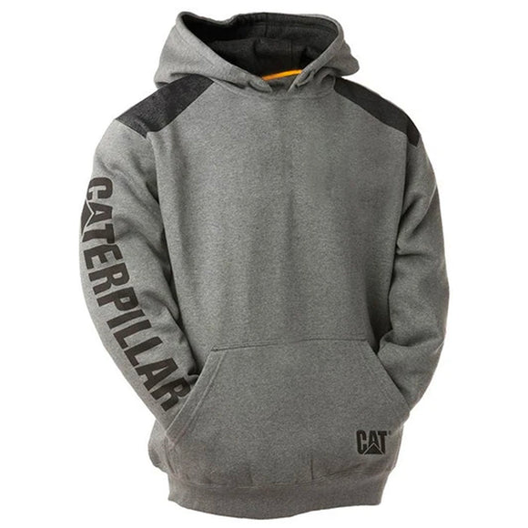 CAT LOGO PANEL PULLOVER HOODIE GREY