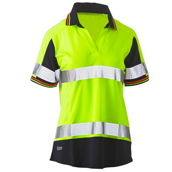 BISLEY WOMENS 3M TAPED HI VIS V-NECK POLO YELLOW/NAVY