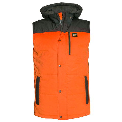 CAT HI VIS HOODED VEST ORANGE/SHADOW