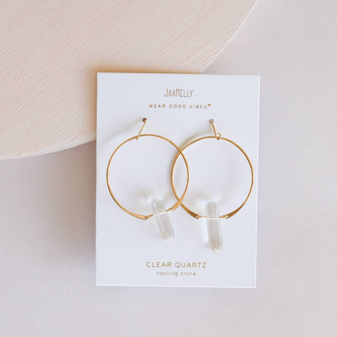 JaxKelly Earrings - Clear Quartz Hoops