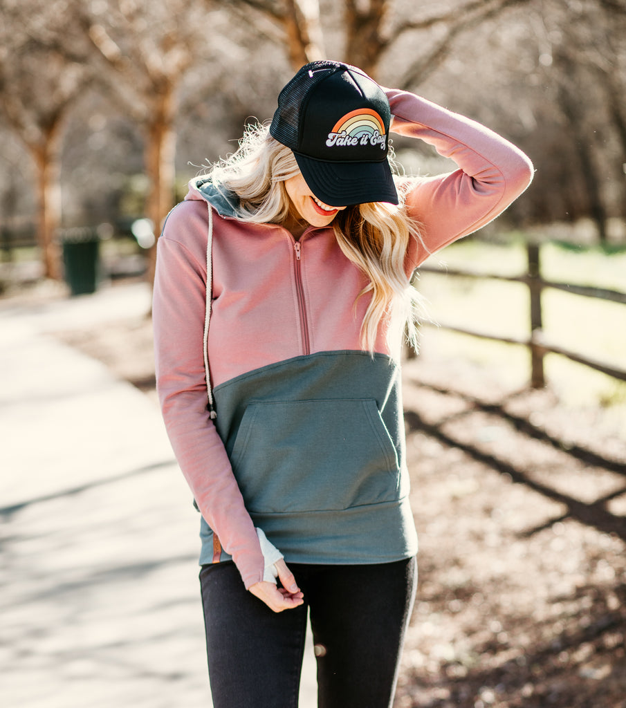Half Zip Sweatshirt - Blush