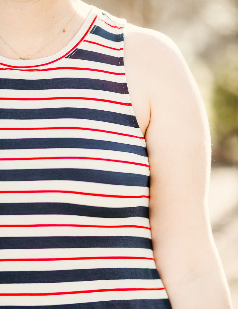 Babe Tank - Red/Navy