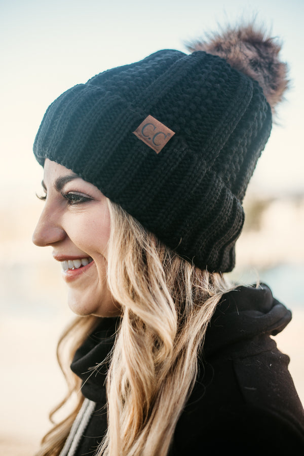 Solid CC Pom Cuff Beanies - All colors