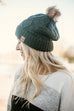 Cable Knit Beanie- Olive