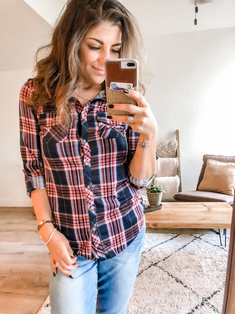 Autumn Favorite Flannel- Navy and Mauve