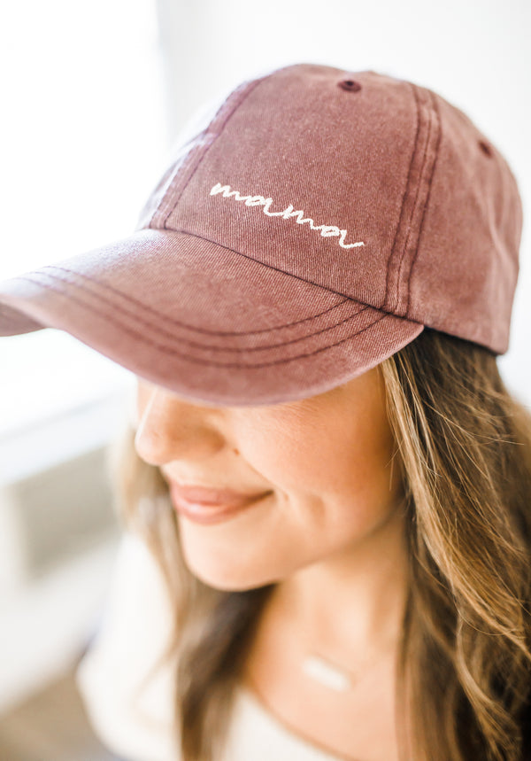Mama Faded Hat - Maroon