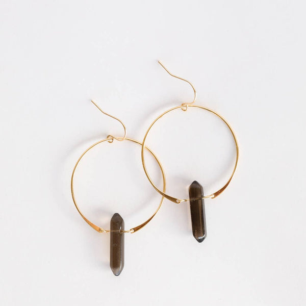 JaxKelly Earrings - Smoky Quartz Hoops