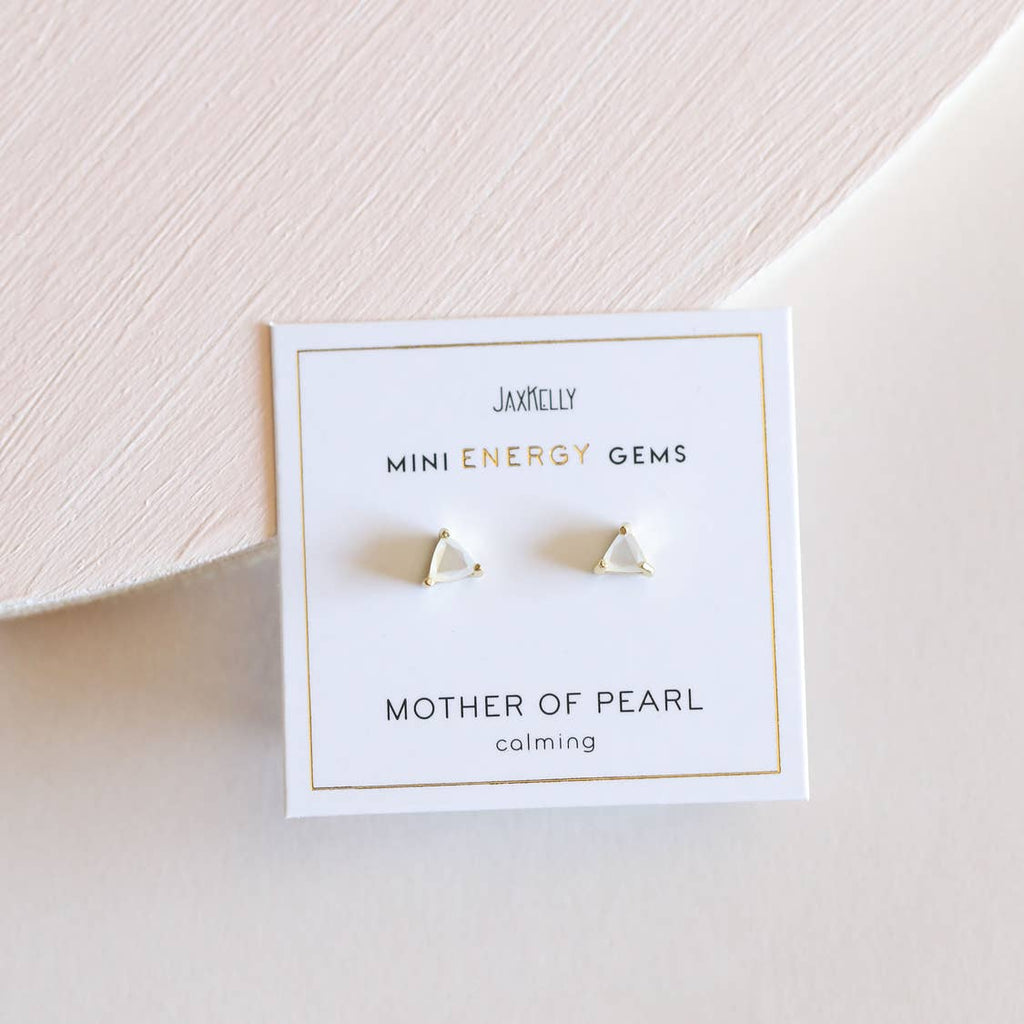 JaxKelly Earrings - Mother of Pearl Mini Energy Gems