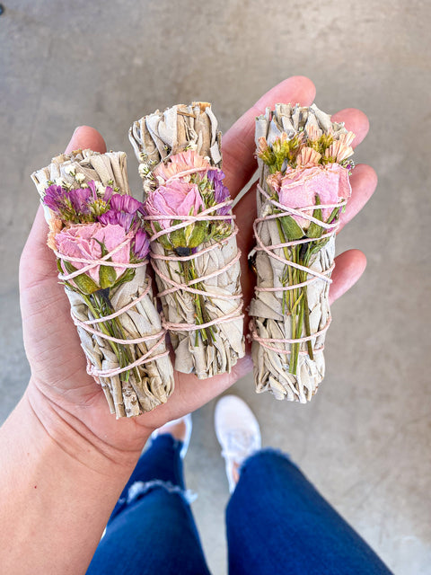 Wildflower Rose & Sage Smudge Stick