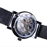 Stainless Steel Mesh Band Transparent Thin Case Hollow Men's Wrist Watch - Paul's Mall for All
