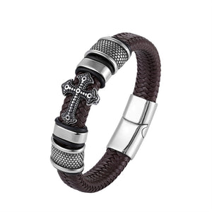 LKO Classical Multi-layer Handmade Leather Chain Weaved Man Bracelets with Magnet Clasp - Paul's Mall for All