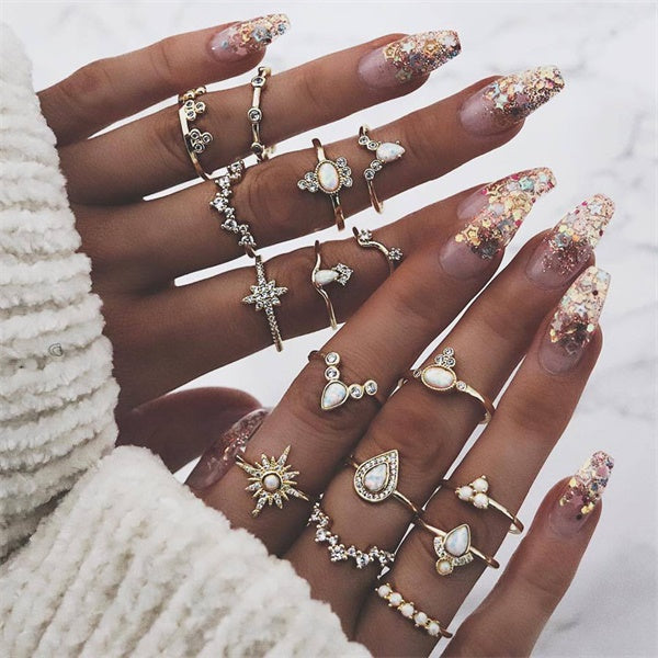 9 Design Boho Vintage Gold Star Mini Mood Rings Set For Women Opal Crystal - Paul's Mall for All