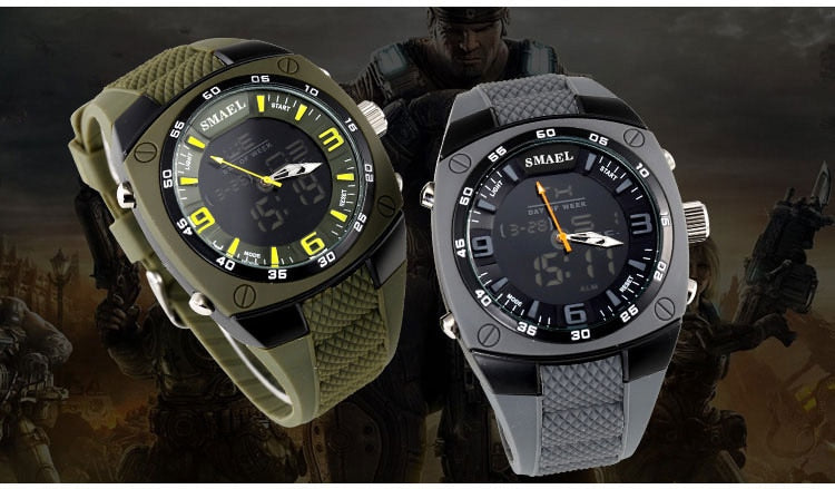 Rugged Waterproof Stainless Steel & Silicone Multi-Function Men's Sports Watch - Paul's Mall for All