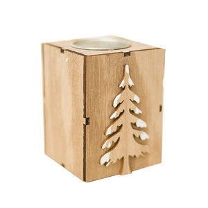 Christmas Holiday Themed Wooden Candle tealight Holder - Paul's Mall for All