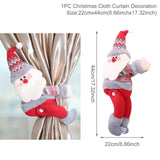 Santa Claus Elk Christmas Holiday Curtain Decor - Paul's Mall for All