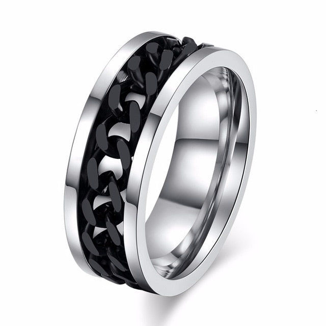 Black Spinner Chain Ring for Men Tire Texture Stainless Steel Rotatable Links - Paul's Mall for All