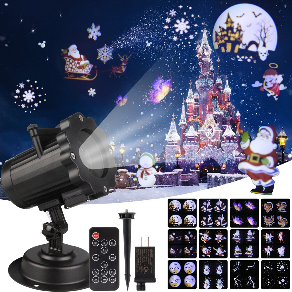 Remote Control Santa Claus Christmas Laser Projector Indoor Outdoor 12 Patterns - Paul's Mall for All