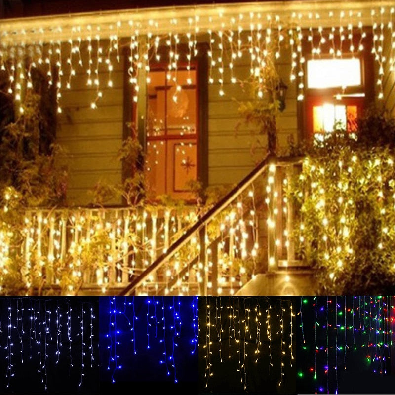 Garland Christmas LED Curtain Icicle String Fairy Light 5M 96Leds - Paul's Mall for All