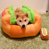 Soft and Cozy Funny Hot Dog Shaped Dog Pet Bed