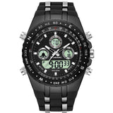 Shock Resistant LED Multi-Functional Dual Display Quartz Waterproof Watch - Paul's Mall for All