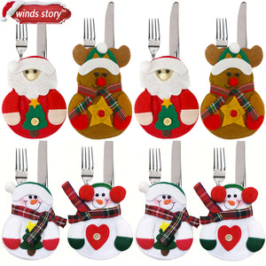 8 Piece Christmas Decorations Santa Snowman Kitchen Tableware Cutlery Silverware Holder - Paul's Mall for All