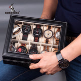 Elegant Leatherette Watch Display Storage Case Organizer Box - Paul's Mall for All