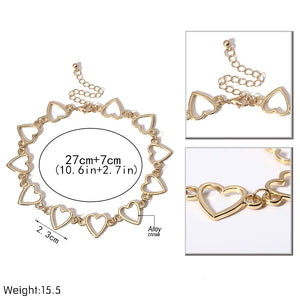 Heart or Chain Choker Necklace Gold or Silver - Paul's Mall for All