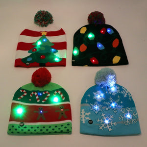 Festive LED Lights Christmas Tree Knitted Beanie Hat in 4 styles - Paul's Mall for All
