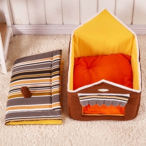 Collapsible Soft and Plush Cute House Shaped Pet Bed with Removable Cover