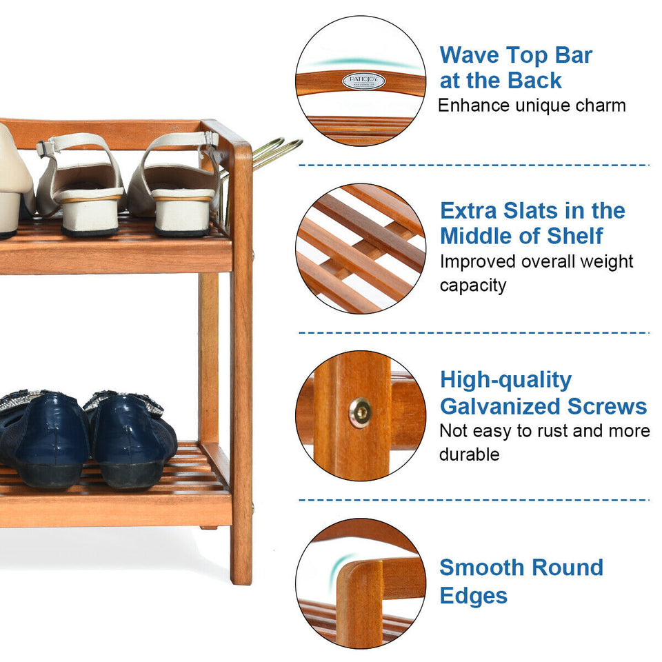 2-Tier Wood Shoe Rack Freestanding Shoe Storage Organizer - Paul's Mall for All