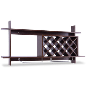 Wall Mount Wine Rack with Glass Holder & Storage Shelf - Paul's Mall for All