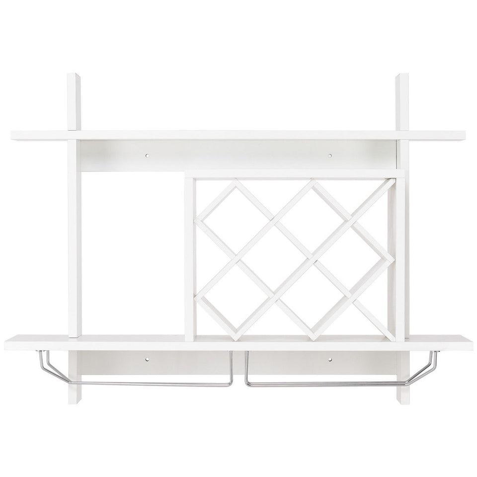 Wall Mount Wine Rack w/ Glass Holder & Storage Shelf - Paul's Mall for All