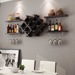 Set of 5 Wall Mount Wine Rack Set w/ Storage Shelves in Black or White - Paul's Mall for All