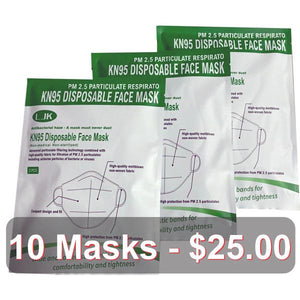 KN95 Protective Disposable Respirator... 10 Masks - $25.00 --------- 20 Masks - $45.00--------