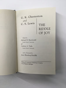 The Riddle of Joy, Chesterton and C.S. Lewis