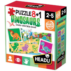 Headu PUZZLE DINOSAURI 8 IN 1
