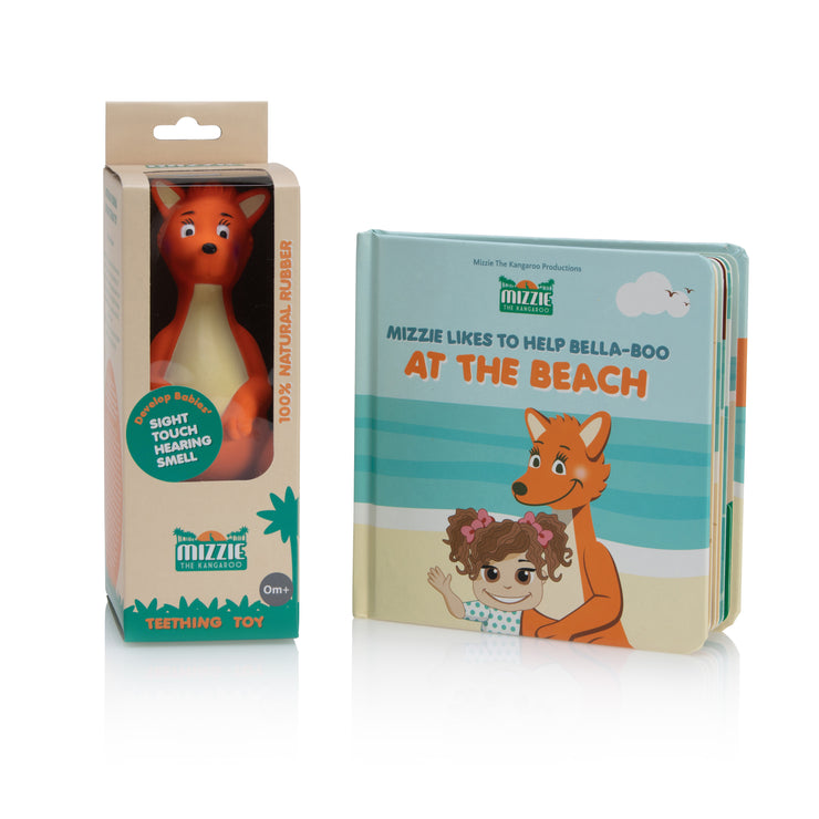 Baby Board Book Gift Set with Mizzie Teething Toy
