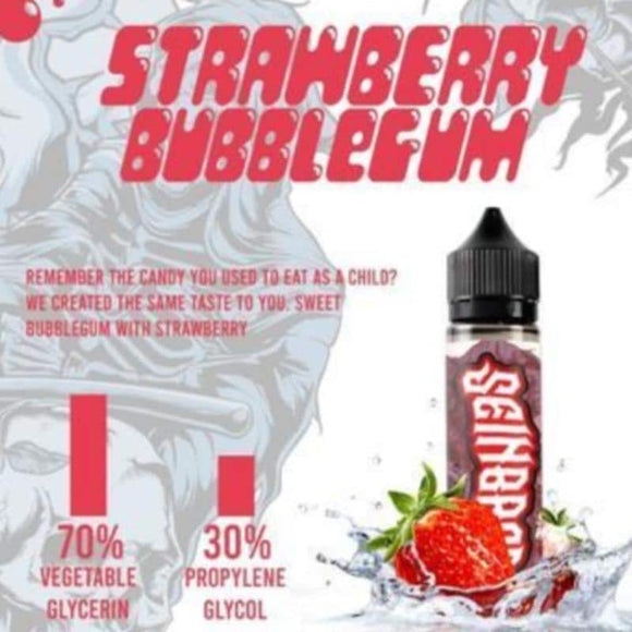 Strawberry Bubblegum 60ml E Liquid 0mg Nicotine by Seinbros
