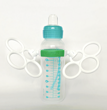 Load image into Gallery viewer, Bottle Grabbies on 8oz Baby Bottle Angled Handles