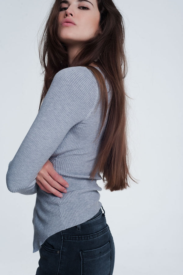 Gray Ribbed Wrap Sweater With V-Neck - KiS and Plush
