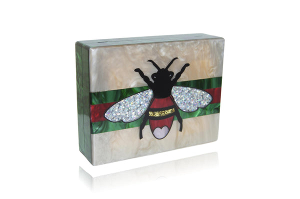 Queen Bee Champagne Acrylic Box Clutch Handbag