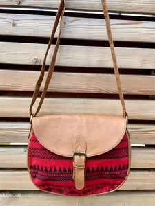 flap crossbody handbag in border pattern