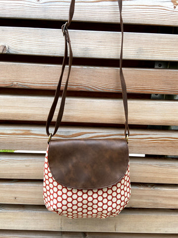 piccolino flap crossbody handbag in polka dots pattern