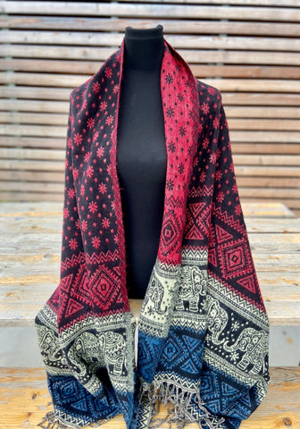 boho shawl (reversible) - elephant (++ color options)