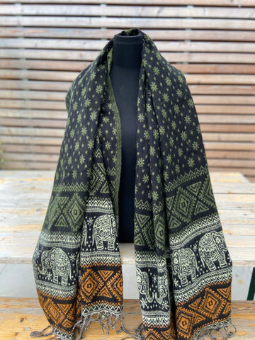 boho shawl (reversible) - elephant